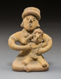 Pre-Columbian:Ceramics, A Colima Seated Mother and Child Height 5 ...