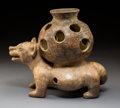 Pre-Columbian:Ceramics, A Colima Dog Carrying a Large Incensario. c. 250 BC - 250 AD...