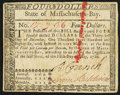 Colonial Notes:Massachusetts, Signed by Loammi Baldwin Massachusetts May 5, 1780 $4 Slash CancelVery Fine-Extremely Fine.. ...