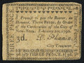 Colonial Notes:New York, New York- New York City February 20, 1790 3d Extremely Fine.. ...