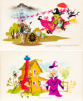 Animation Art:Concept Art, H.R.Pufnstuf Double-Sided Concept Art by Wes Cook (Sid and Marty Krofft, 1969). ... (Total: 2 Original Art)