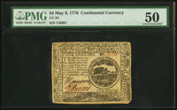 Continental Currency May 9, 1776 $4 PMG About Uncirculated 50