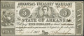 Obsoletes By State:Arkansas, Little Rock, AR - State of Arkansas $5 Aug. 14, 1863 Cr. 48C About Uncirculated.. ...