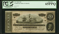 Confederate Notes:1864 Issues, T67 $20 1864 PCGS Gem New 65 PPQ.. ...