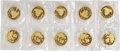 """China, China: People's Republic 10-Piece Set of Uncertified gold """"Large Date"""" Panda 100 Yuan (1 oz) 1999 UNC,... (Total: 10 coins)"""