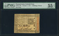 Colonial Notes:Pennsylvania, Pennsylvania October 1, 1773 2s 6d PMG About Uncirculated 55 EPQ.....