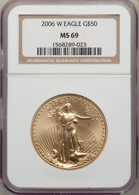 2006-W $50 One-Ounce Gold Eagle, 20th Anniversary, SP 69 NGC