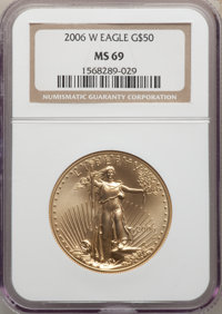 2006-W $50 One-Ounce Gold Eagle, Burnished, 20th Anniversary, SP69 NGC.(PCGS# 89992)