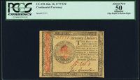 Continental Currency January 14, 1779 $70 PCGS Apparent About New 50