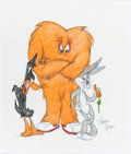 Animation Art:Production Drawing, Virgil Ross - Daffy Duck, Gossamer, and Bugs Bunny Illustration (Warner Brothers, c. 1990s). ...