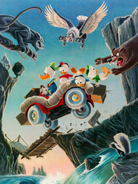 Carl Barks Leaving Their Cares Behind Signed Limited Edition Lithograph Print #219/350 (Another Rainbow, 1995)