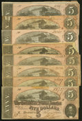 Confederate Notes:1864 Issues, T69 $5 1864 Eight Examples Fine or better.. ... (Total: 8 notes)