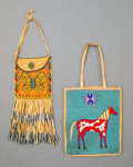 American Indian Art:Beadwork and Quillwork, Two Plateau Pictorial Flat Bagsc. 1920 and 196...