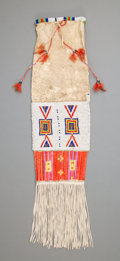 American Indian Art:Beadwork and Quillwork, A Sioux Beaded Hide Tobacco Bagc. 1910