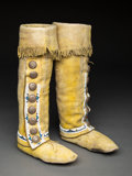 American Indian Art:Beadwork and Quillwork, A Pair of Cheyenne Hightop Moccasins . c. 1900... (Total: 2 Items)