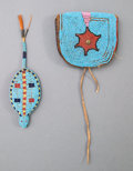 American Indian Art:Beadwork and Quillwork, A Sioux Fetish and a Plateau Belt Pouch . c. 1890... (Total: 2 Items)