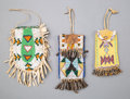 American Indian Art:Beadwork and Quillwork, Three Plains Pouchesc. 1900 including ...