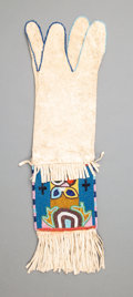 American Indian Art:Beadwork and Quillwork, A Cree Beaded Hide Tobacco Bagc. 1890 ...