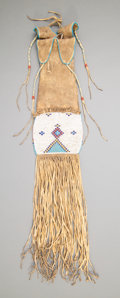 American Indian Art:Beadwork and Quillwork, A Blackfoot Beaded Hide Tobacco Bag. c. 1885...