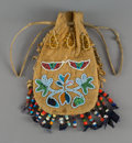 American Indian Art:Beadwork and Quillwork, A Sioux Beaded Hide Drawstring Pouch...