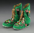 American Indian Art:Beadwork and Quillwork, A Pair of Plateau Child's Beaded Hide Boot Moccasins