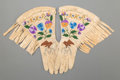American Indian Art:Beadwork and Quillwork, A Pair of Plateau Pictorial Embroidered Hide Gauntlets...