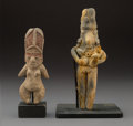 Pre-Columbian:Ceramics, Two Pre-Classic Female Figures, Tlatilco and Colima