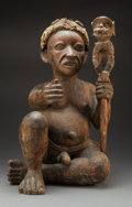 Tribal Art, A Near Life-size Seated Figure, West Africa...