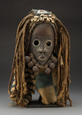 Tribal Art, A Dan Mask with Attached Beard, Bells, and Fiber Wig and Cloth Headdress...
