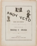 Political:Small Paper (pre-1896), Andrew Johnson: Satirical 1866-Dated Sheet Music.. ...