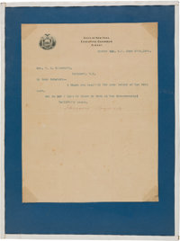 Theodore Roosevelt: Typed Letter Signed [TLS], As New York Governor, With Delightful Sentiment