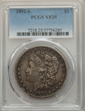 Morgan Dollars: , 1892-S $1 VF25 PCGS. PCGS Population: (281/4755). NGC Census: (224/3468). CDN: $100 Whsle. Bid for problem-free NGC/PCGS VF...