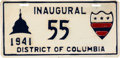 Political:Inaugural (1789-present), Franklin D. Roosevelt: 1941 Inauguration License Plate....
