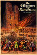"Movie Posters:Horror, The Hunchback of Notre Dame (Universal, 1924). Folded, Very Fine-. German Four Panel (72"" X 108"").. ..."