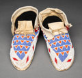 American Indian Art:Beadwork and Quillwork, A Pair of Sioux Beaded Hide Moccasins. ...