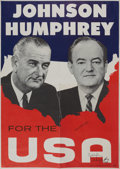 Autographs:U.S. Presidents, Johnson & Humphrey: Rare 1964 Campaign Jugate Poster Actually Signed by Both.. ...