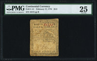 Continental Currency February 17, 1776 $1/2 PMG Very Fine 25