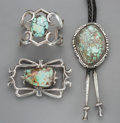 American Indian Art:Jewelry and Silverwork, Three Navajo Jewelry Items. c. 1970 - 1990... (Total: 3 Items)