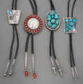 American Indian Art:Jewelry and Silverwork, Four Southwest Bolo Ties. c. 1980... (Total: 4 Items)