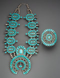 American Indian Art:Jewelry and Silverwork, A Large Navajo Squash Blossom Necklace with Matching Bracelet. Doris and Warren Ondelacy. c. 1960... (Total: 2 Items)