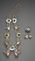 American Indian Art:Jewelry and Silverwork, Three Zuni Jewelry Items. Virgil and Shirley Benn and AndreaLonjose Shirley . c. 1985... (Total: 3 Items)