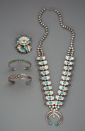 American Indian Art:Jewelry and Silverwork, Four Southwest Jewelry Items. c. 1910 - 1950... (Total: 4 Items)