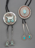 American Indian Art:Jewelry and Silverwork, Two Zuni Bolo Ties. c. 1980... (Total: 2 Items)