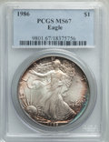 Modern Bullion Coins, 1986 $1 Silver Eagle MS67 PCGS. PCGS Population: (443/18302). NGC Census: (431/147372). Mintage 5,393,005. ...