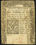 Colonial Notes:Connecticut, Connecticut October 10, 1771 20s Fine-Very Fine.. ...