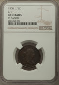 Half Cents, 1800 1/2 C C-1, B-1, R.1, -- Cleaned -- NGC Details. XF. Mintage 202,908....