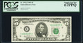 Fr. 1976-I $5 1981 Federal Reserve Note. PCGS Superb Gem New 67PPQ