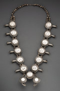 American Indian Art:Jewelry and Silverwork, A Navajo Squash Blossom Necklace. ...