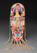 American Indian Art:Beadwork and Quillwork, A Crow Pictorial Beaded Hide Model Cradleboard...