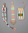 American Indian Art:Beadwork and Quillwork, Three Plains Beaded Items... (Total: 3 Items)